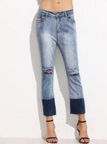 Color Block Ripped Raw Hem Jeans