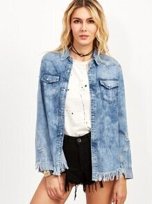 Blue Bleach Wash Ripped Raw Hem Denim Coat