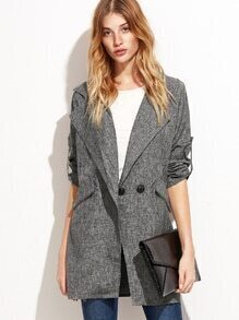 Grey Roll Tab Sleeve Slit Side Long Blazer