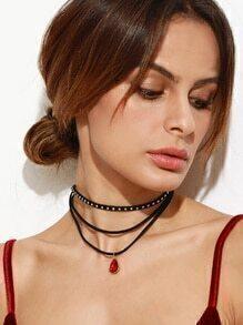 Black Layered Rhinestone Studded Choker Necklace