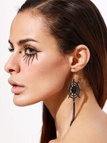 Black Cobweb Chain Tassel Earrings