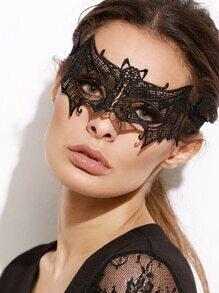 Máscara de encaje en forma de murciélago - negro