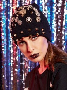 Badges Studded Embelished Knit Hat
