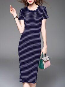 Navy White Striped Knit Long Dress