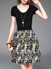 Black Knit Pockets Jacquard A-Line Dress