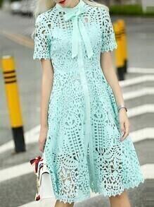 Green Tie Neck Crochet Hollow Out Dress