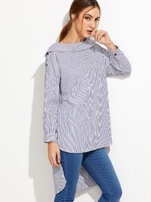 Vertical Striped Fold Over Boat Neck High Low Blouse