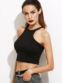 Black Plain Crop Tank Top