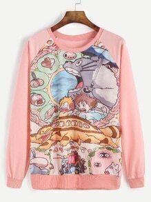 Pink Cartoon Print Raglan Sleeve Sweatshirt