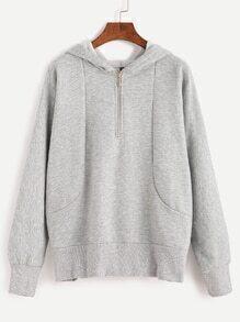 Light Grey Hooded Sweatshirt With Zip Detail