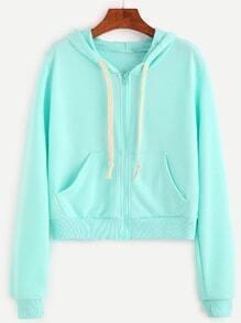Drawstring Hooded Crop Zip Pocket Sweatshirt