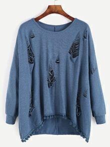 High Low Ripped Pompom Hem Sweatshirt