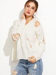 Beige V Neck Drop Shoulder Ripped Sweater