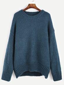Indigo Blue Dropped Shoulder Seam Sweater
