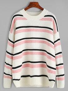 Striped Dropped Shoulder Seam Sweater