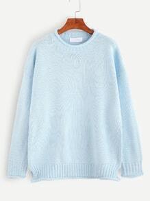 Pale Blue Crew Neck Drop Shoulder Sweater