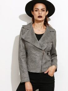 Grey Lapel Zip Up Jacket With Button Detail