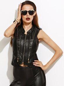 Black Faux Leather Epaulet Zipper Vest Coat