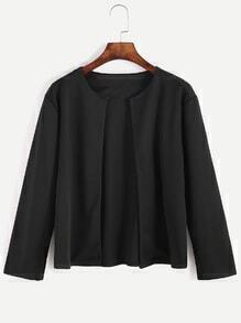 Black Plain Casual Short Coat