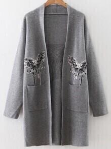 Grey Butterfly Pattern Pocket Sweater Coat