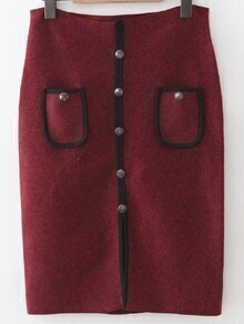 Burgundy Front Pocket Button Up Slit Bodycon Skirt