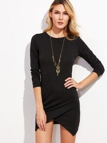 Black Asymmetric Hem Bodycon Dress