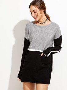Color Block Drop Shoulder Pockets Sweater Dress