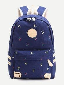 Blue Cherry Front Zipper Canvas Backpack