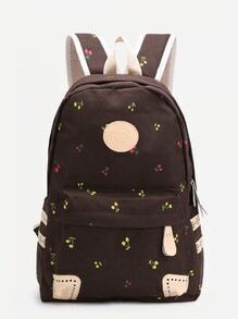 Coffee Cherry Front Zipper Canvas Backpack