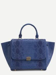 Blue Snakeskin Leather Flap Handbag With Strap