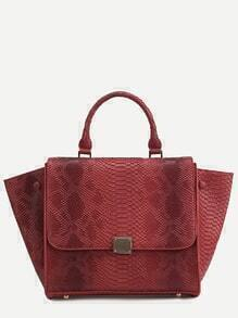 Red Snakeskin Leather Flap Handbag With Strap