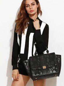 Black Snakeskin Leather Flap Handbag With Strap