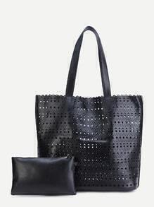 Black PU Hollow Out Tote Bag With Clutch