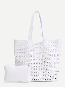 White PU Hollow Out Tote Bag With Clutch