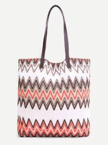 Multicolor Faux Leather Chevron Tote Bag
