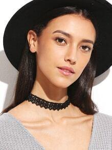 Black Hollow Out Lace Choker Necklace