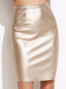 Gold Zipper Back Split Metal Skirt