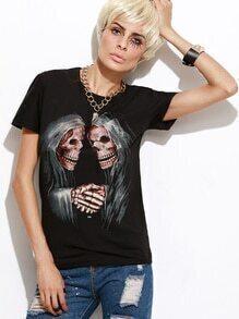 Black Skull Print Boyfriend T-shirt