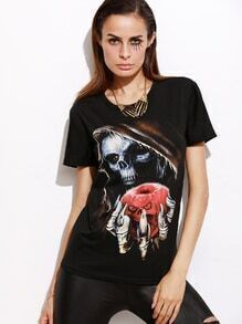 Black Demon Print Boyfriend T-shirt