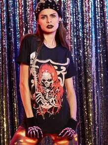 Black Skull Print Halloween T-shirt