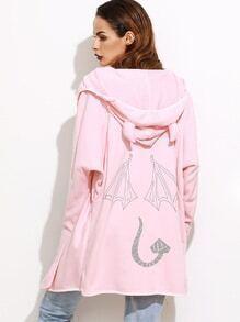 Pink Little Devil Printed Back Hooded Coat