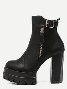 Black Faux Leather Buckle Strap High Heel Platform Boots