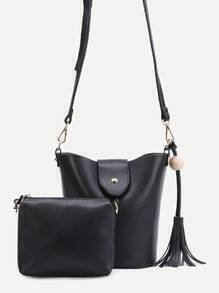 Black PU Tassel Trim Convertible Shoulder Bag Set