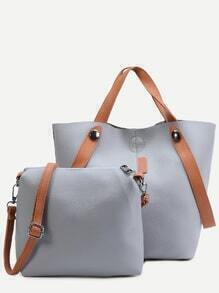 Grey PU Convertible Shoulder Bag With Crossbody Bag
