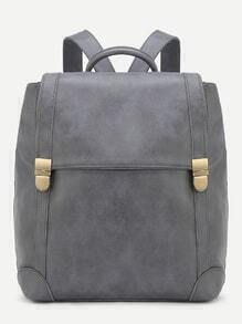 Grey PU Double Buckle Flap Backpack