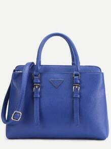 Blue Pebbled PU Double Buckle Handbag With Strap