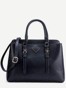 Black Pebbled PU Double Buckle Handbag With Strap