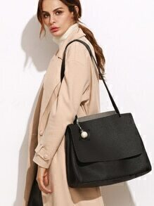Black Pebbled PU Faux Pearl Flap Shoulder Bag