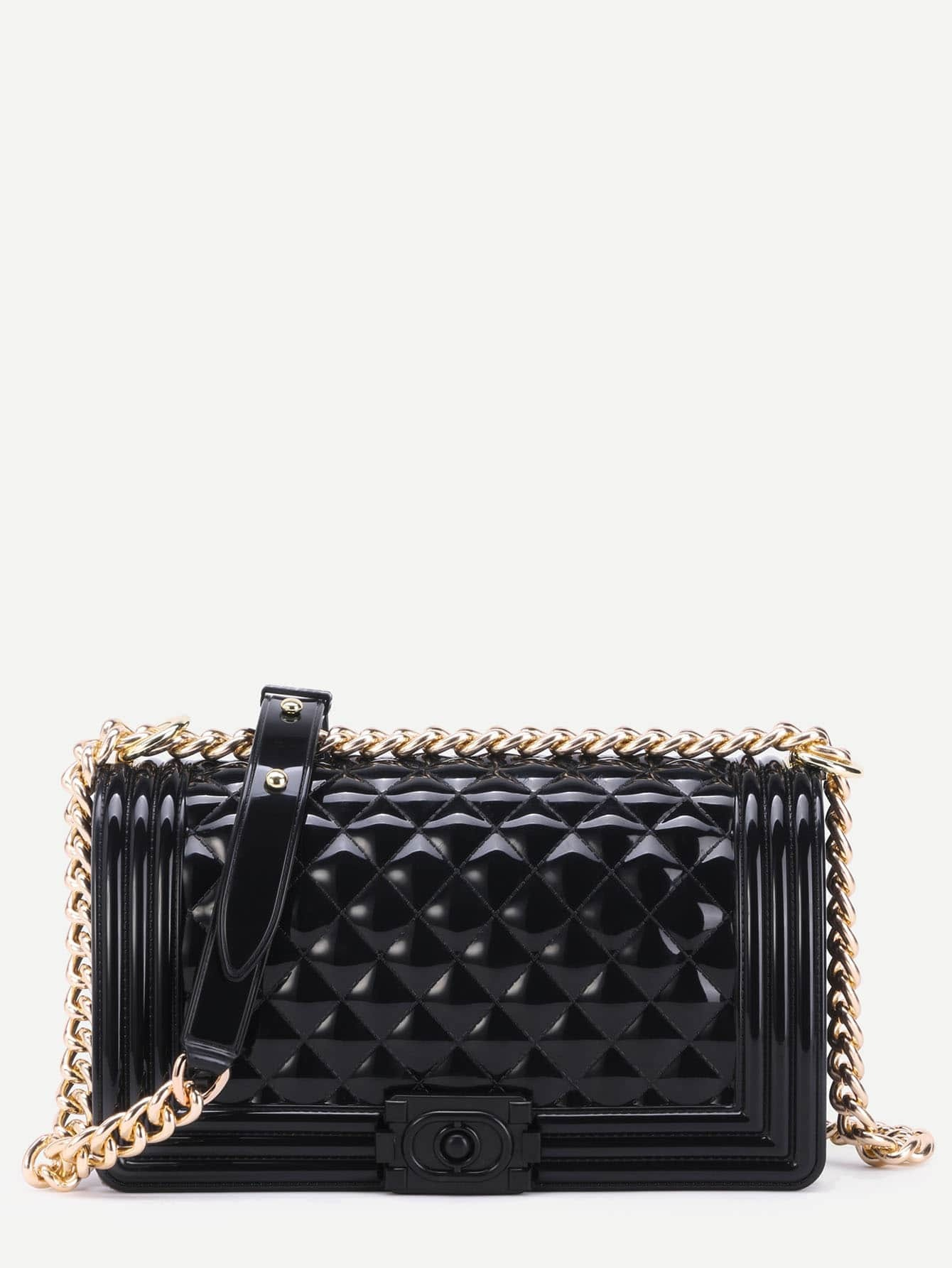 Mini Black Quilted Flap Jelly Bag With Chainfor Women Romwe