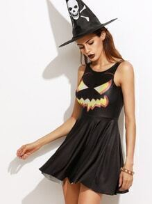 Black Pumpkin Print Sleeveless Halloween Dress